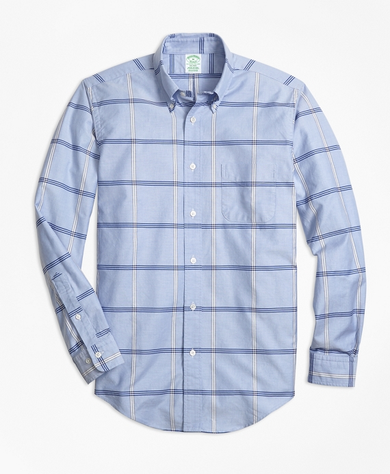 Milano Fit Oxford Bb#1 Windowpane Sport Shirt by Brooks Brothers
