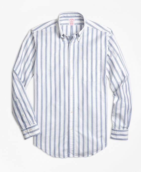 Madison Fit Oxford BB#1 Stripe Sport Shirt White-Blue