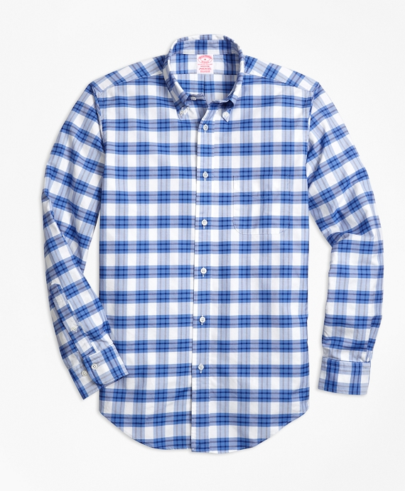 Madison Fit Oxford Plaid Sport Shirt Blue-White