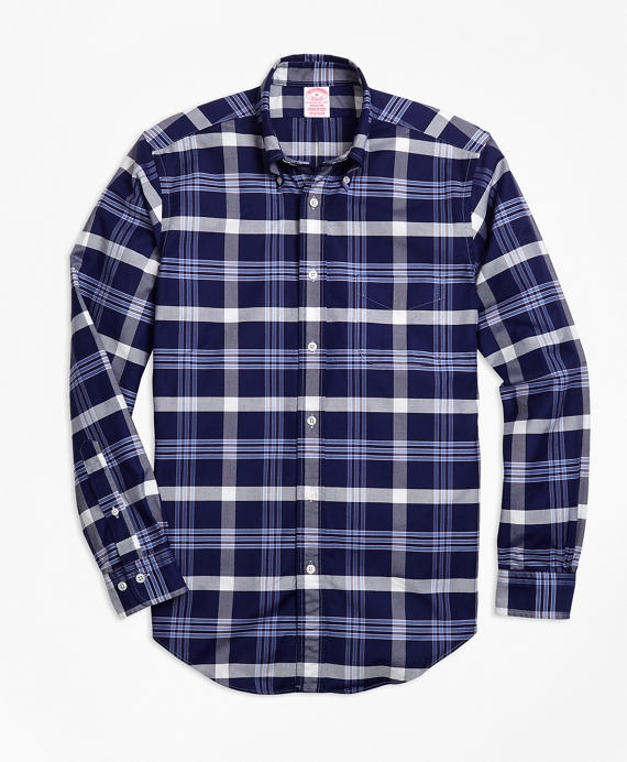Madison Fit Oxford BB#10 Plaid Sport Shirt Navy