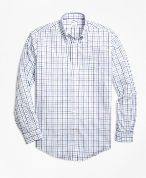 Non-Iron Regent Fit Triple-Color Windowpane Sport Shirt Blue