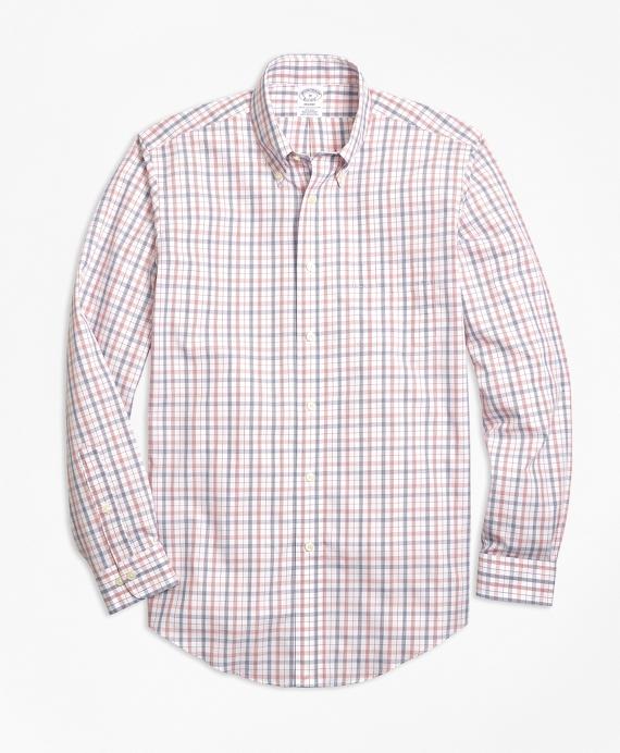 Regent Regular-Fit Sport Shirt, Non-Iron Triple-Color Windowpane Pink
