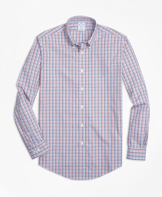 Non-Iron Regent Fit Three-Color Gingham Sport Shirt Coral