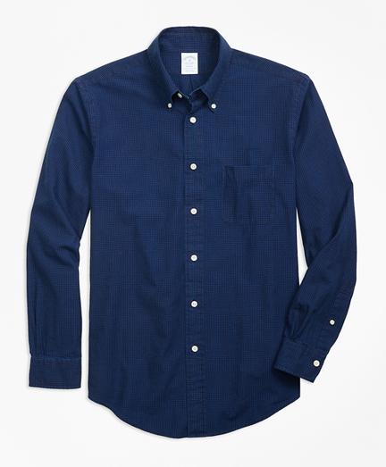 Regent Fit Indigo Micro-Graph Check Sport Shirt