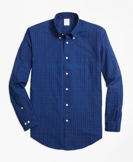 Regent Fit Indigo Tonal Plaid Sport Shirt