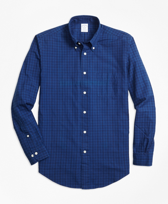 Regent Fit Indigo Tonal Plaid Sport Shirt Indigo