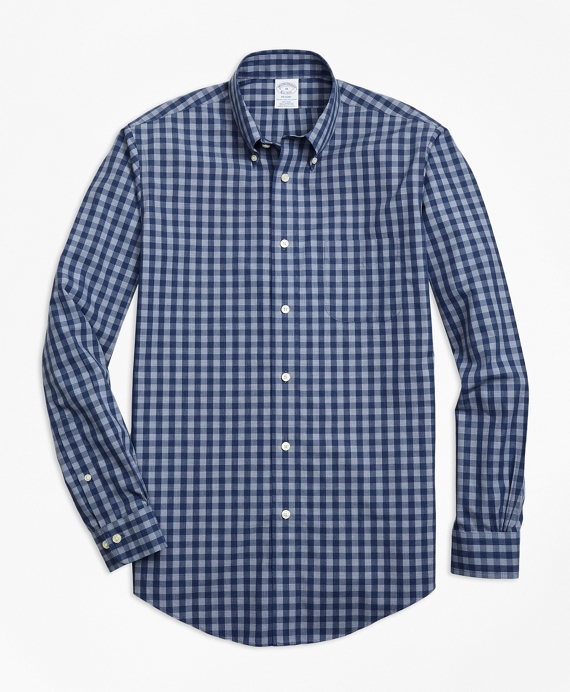 Non-Iron Regent Fit Heathered Gingham Sport Shirt Navy