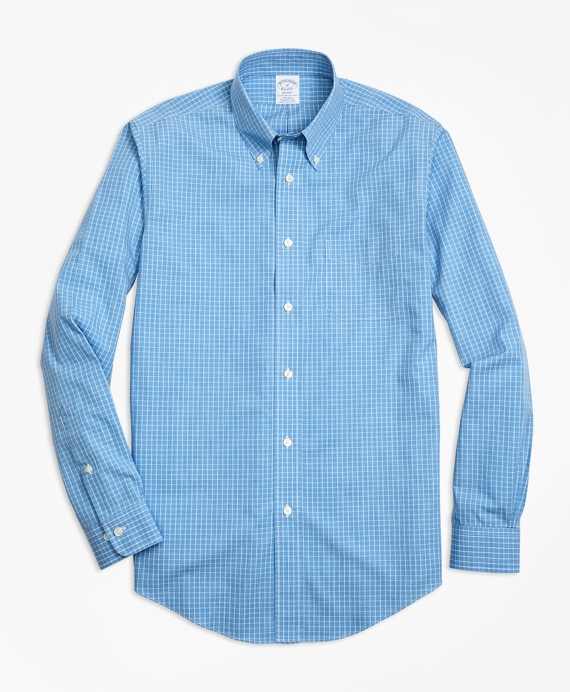 Non-Iron Regent Fit Heathered Windowpane Sport Shirt Blue