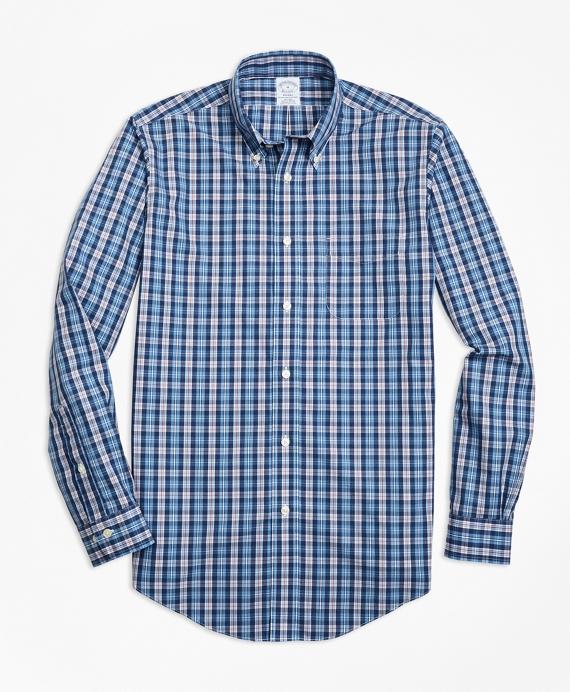 Non-Iron Regent Fit Heathered Multi-Plaid Sport Shirt Blue