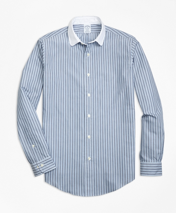 Regent Fit Heathered Stripe Sport Shirt Blue