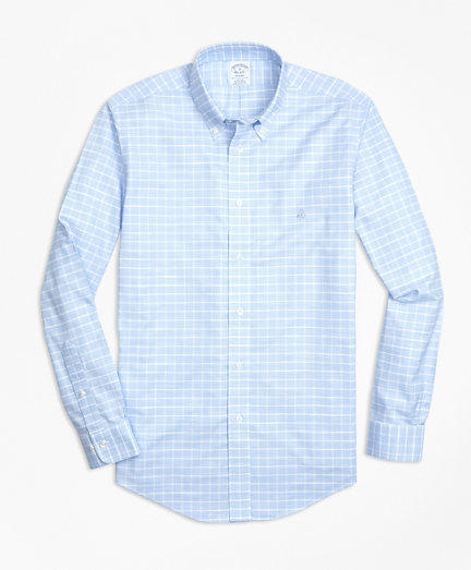 Non-Iron Regent Fit Slub Windowpane Sport Shirt