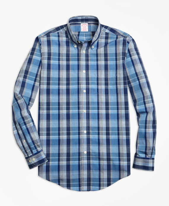 Non-Iron Madison Fit Heathered Madras Sport Shirt Blue