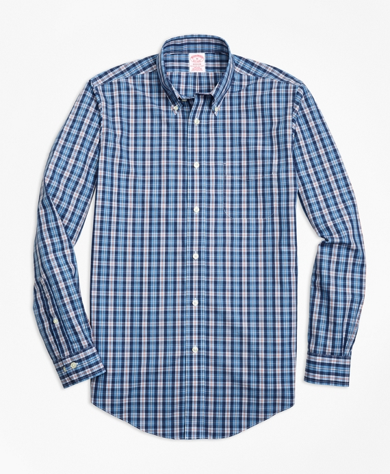 Non-Iron Madison Fit Heathered Multi-Plaid Sport Shirt Blue