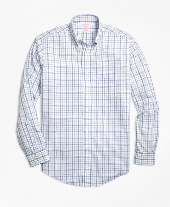 Non-Iron Madison Fit Triple-Color Windowpane Sport Shirt Blue