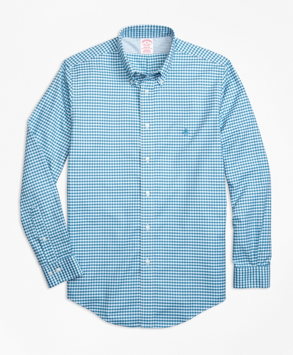 Madison Relaxed-Fit Sport Shirt, Non-Iron Gingham Teal