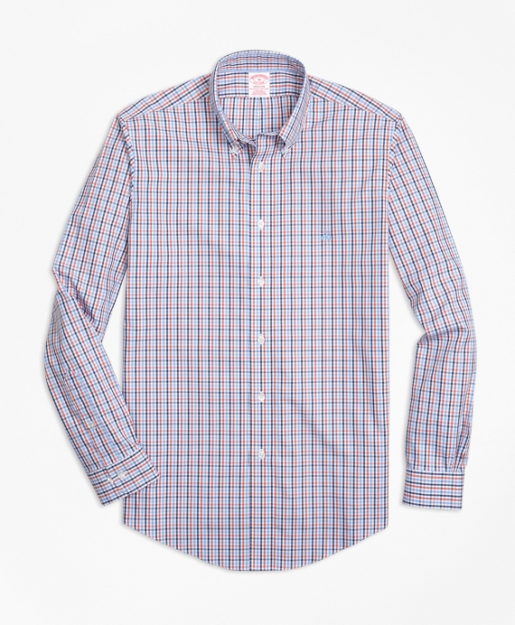 Non-Iron Madison Fit Three-Color Gingham Sport Shirt Coral