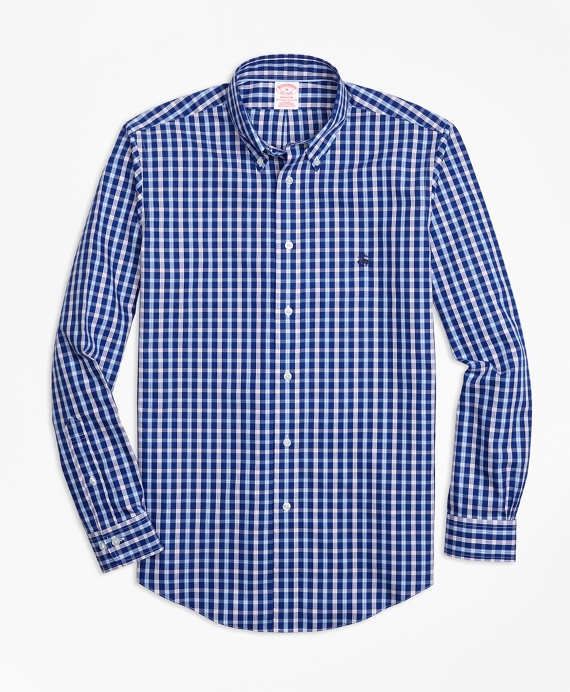 Non-Iron Madison Fit Three-Color Check Sport Shirt Blue