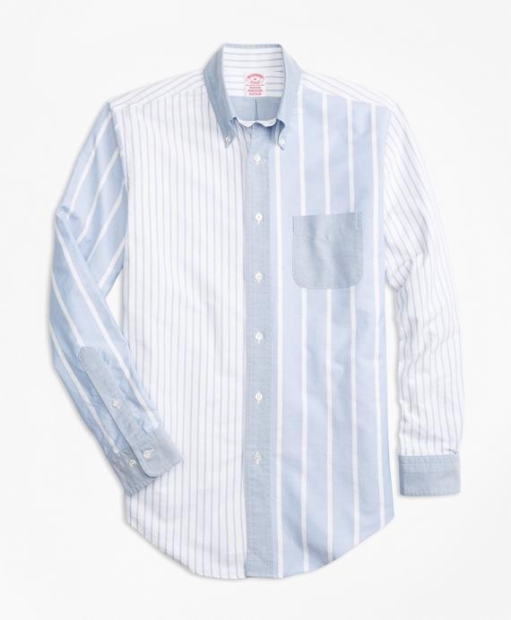 Madison Fit Oxford Fun Stripe Sport Shirt Blue