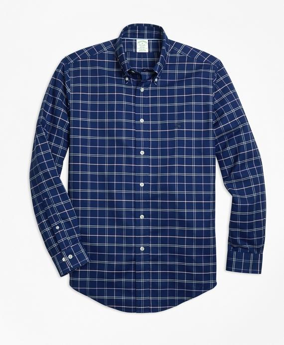 Non-Iron Milano Fit Windowpane Sport Shirt Navy