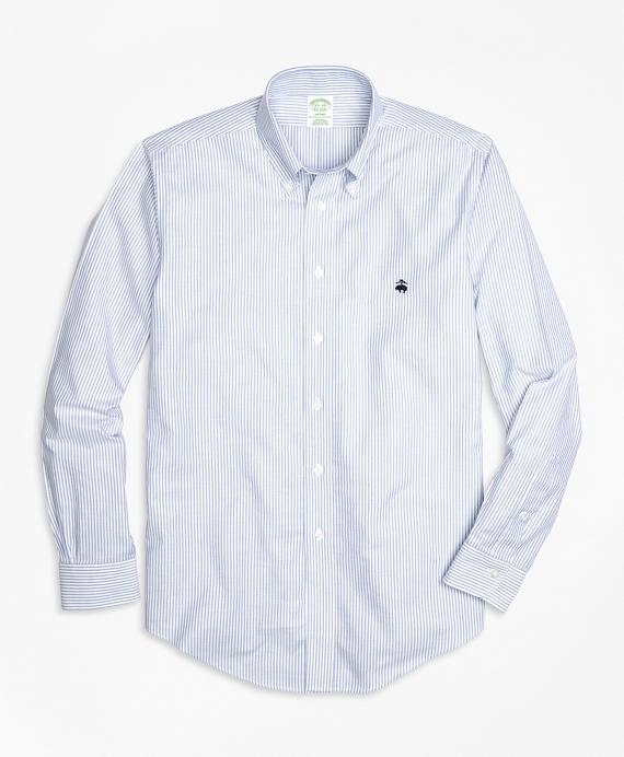 Non-Iron Milano Fit Oxford Stripe Sport Shirt Blue