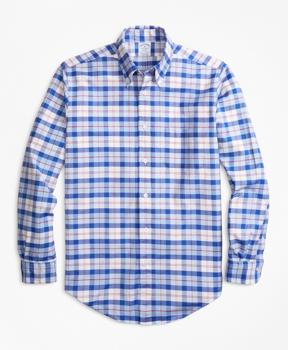 Regent Fit Oxford Blue and Red Plaid Sport Shirt Blue-Red
