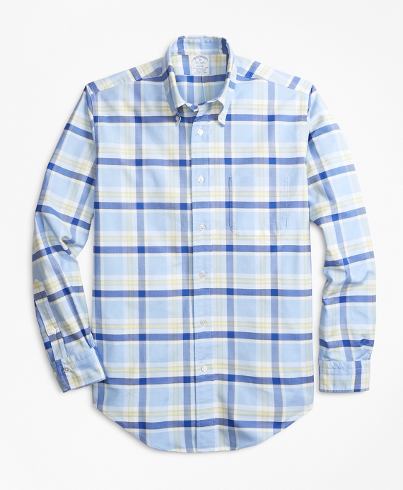 Regent Fit Oxford Blue and Yellow Plaid Sport Shirt Blue-Yellow