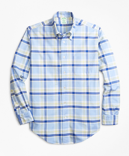 Brooksbrothers Milano Fit Oxford Blue and Yellow Plaid Sport Shirt