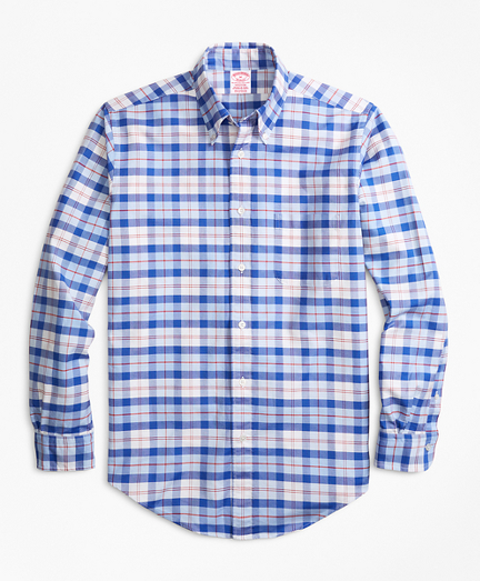 Madison Fit Oxford Blue and Red Plaid Sport Shirt