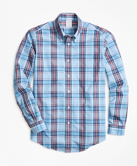 Non-Iron Regent Fit Blue and Red Plaid Sport Shirt Blue-Red