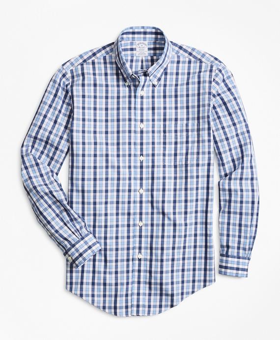 Non-Iron Regent Fit Outline Check Sport Shirt Blue