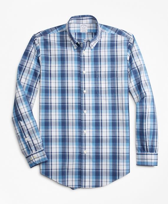 Non-Iron Regent Fit Plaid Sport Shirt Blue