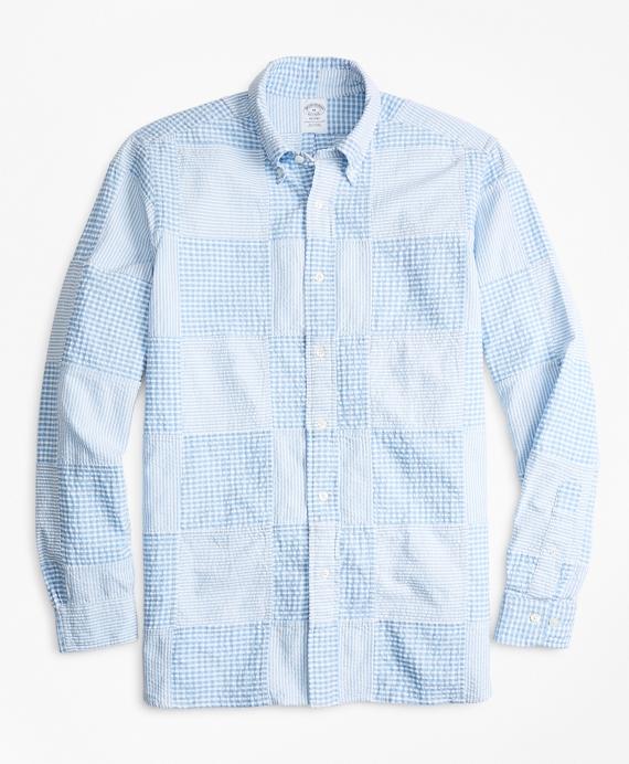Regent Regular-Fit Sport Shirt, Patchwork Seersucker Blue