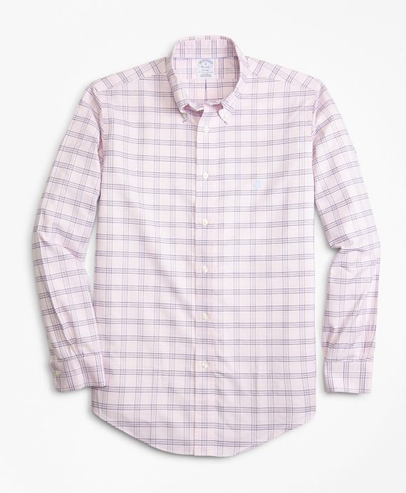 Non-Iron Regent Fit Grid Check Sport Shirt Pink