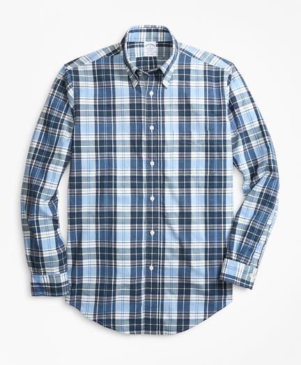 Regent Fit Blue and Green Madras Sport Shirt
