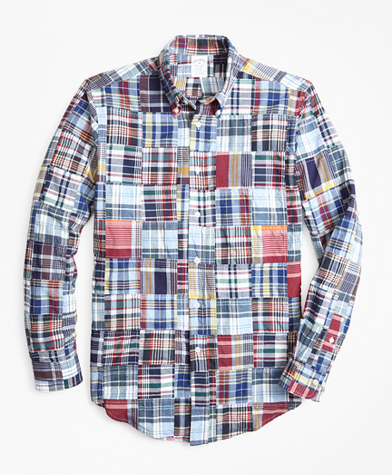 Regent Fit Patchwork Madras Sport Shirt