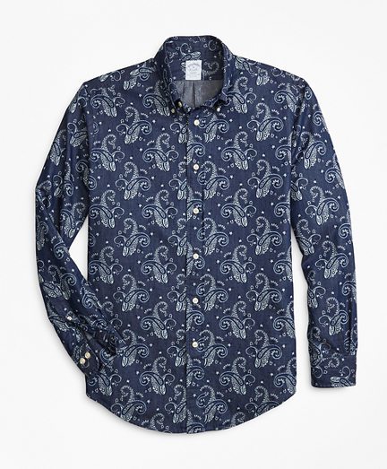 Regent Fit Paisley Print Denim Indigo Sport Shirt