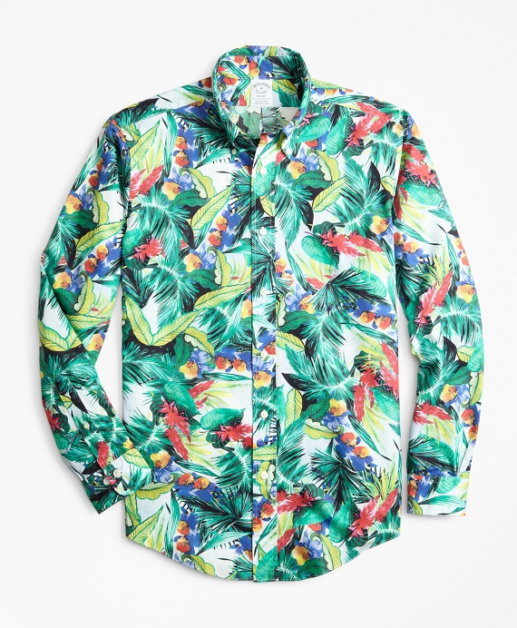 Regent Fit Supima® Bold Tropical Print Sport Shirt Multi