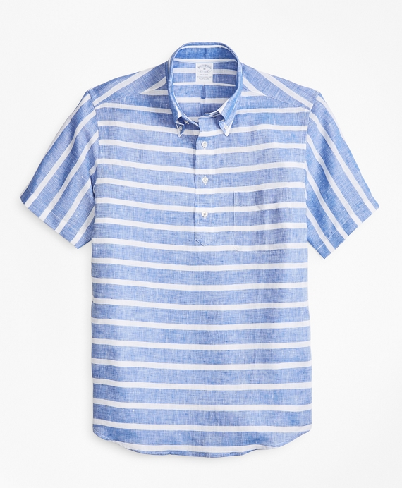Regent Fit Horizontal Stripe Short-Sleeve Popover Sport Shirt Blue