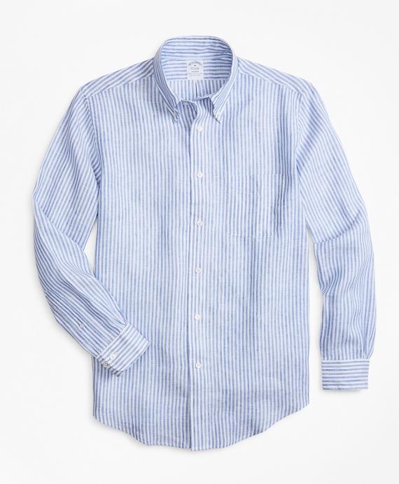 Regent Fit Bengal Stripe Irish Linen Sport Shirt Blue