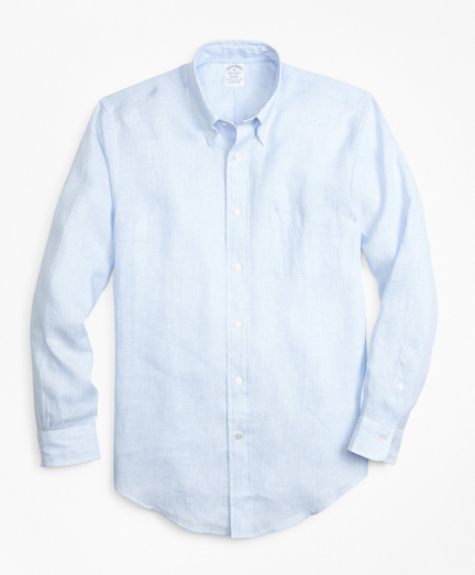 Regent Fit Chambray Stripe Irish Linen Sport Shirt