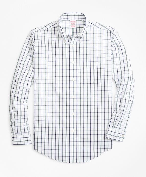 Non-Iron Madison Fit Windowpane Sport Shirt Green