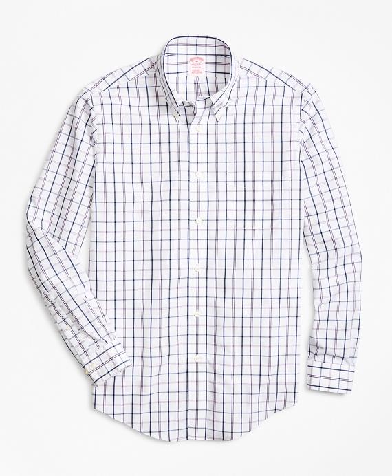 Non-Iron Madison Fit Windowpane Sport Shirt Pink