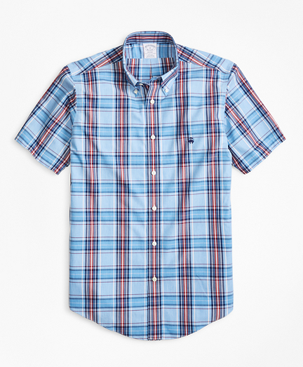 Non-Iron Regent Fit Red and Blue Plaid Short-Sleeve Sport Shirt