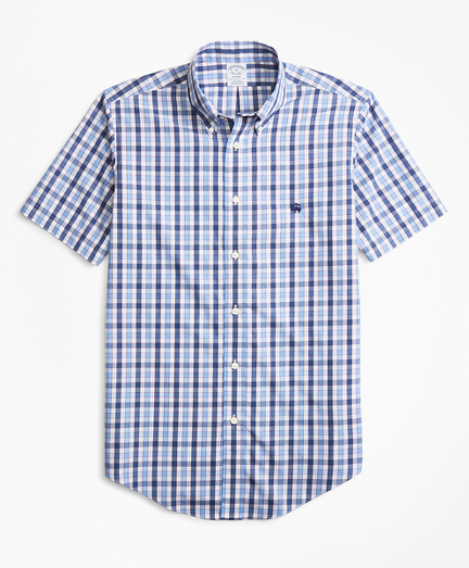 Non-Iron Regent Fit Outline Check Short-Sleeve Sport Shirt