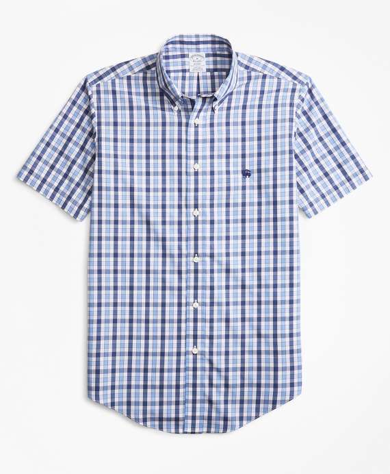 Non-Iron Regent Fit Outline Check Short-Sleeve Sport Shirt Blue