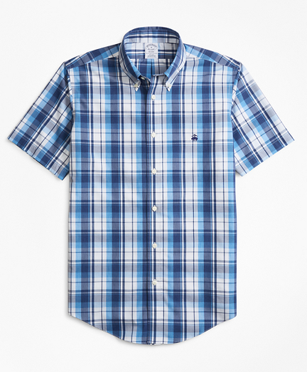 Non-Iron Regent Fit Plaid Short-Sleeve Sport Shirt