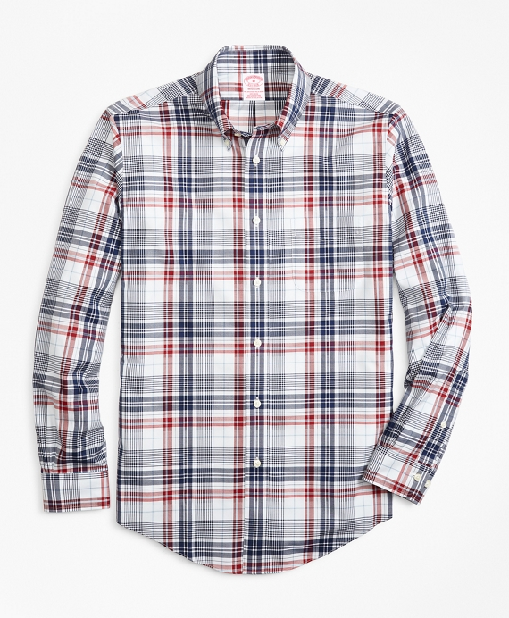 Non-Iron Madison Fit Dobby Plaid Sport Shirt Multi