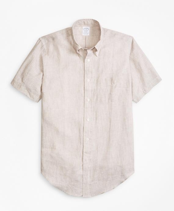 Regent Fit Irish Linen Short-Sleeve Sport Shirt Tan