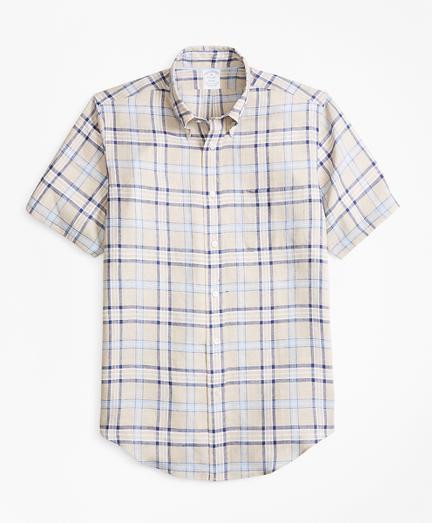 Regent Fit Tartan Irish Linen Short-Sleeve Sport Shirt