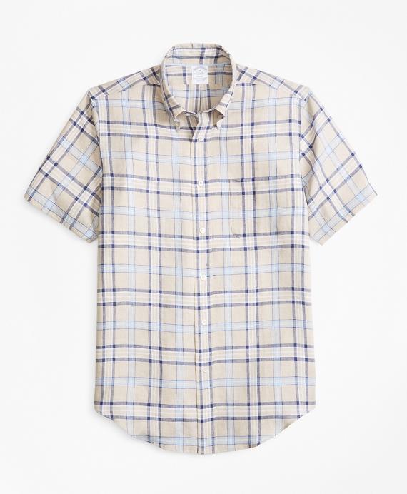 Regent Fit Tartan Irish Linen Short-Sleeve Sport Shirt Tan